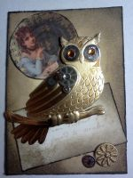 Aceo: steampunk owl by Notebook-Queen