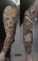 full arm sleeve tattoo by mil5