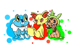 Pokemon 6th generation starters by SwEeTxPiNk96
