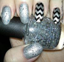 Silver and Black Chevron Nails by EnigmaticRambles