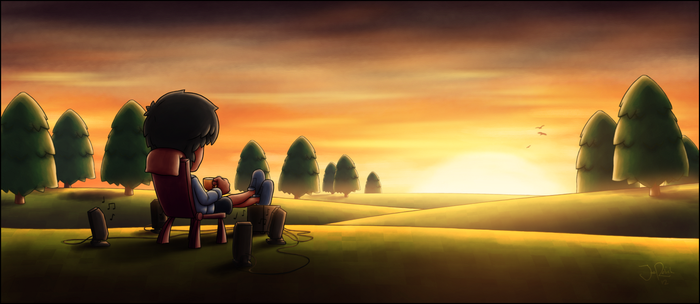 Sunset, Tea and Music by spades4