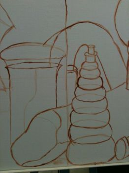 Oil Paint still life 3- initial lines by DeganaBalkar