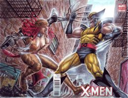 Lady Deathstrike vs Wolverine by edtadeo