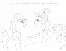 Trixie and Braeburn stumble upon each other by KlarkKentThe3rd