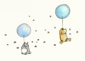 Pooh and Totoro by conniekidd
