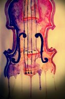 Watercolor violin by strawberriart
