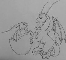 Baby Dragons *free lineart!* by CFxCiarra