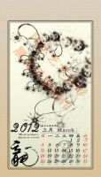 March -- 2012 Fractal Ink Calendar by fengda2870