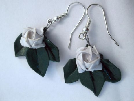 White Origami Rose Earrings_2 by PeryB