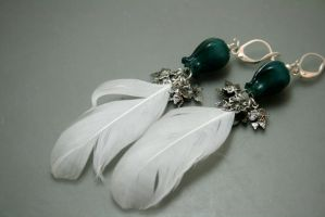 Dulcet Blooms - ptarmigan feather earrings by EskimoScrybe