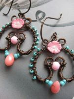 Wire Wrapped Copper Earrings with Coral Flower by Lirimaer86
