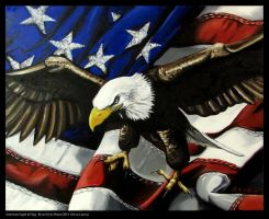 American Eagle & Flag Oil on Canvas by BryanMount