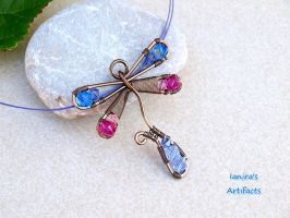 Gunmetal Dragonfly wire wrapped Pendant with Swaro by IanirasArtifacts