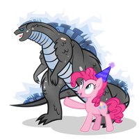 Pinkie and Godzilla- Adventure Bros by PixelKitties