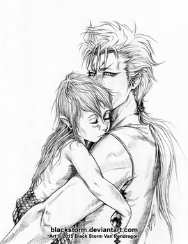 Papa Grimmjow and little naga Shirosaki by blackstorm
