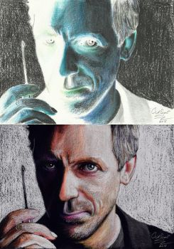 Hugh Laurie Portrait in Negative by N-Shaddriow