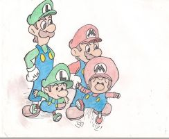 Mario and Luigi with babies by Master-wolf149