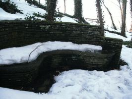 Snowy Stone Bench by Rubyfire14-Stock