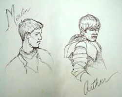 Merlin and Arthur Sketch by ReniMilchstrasse