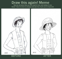 Luffy, Before and After by heivais