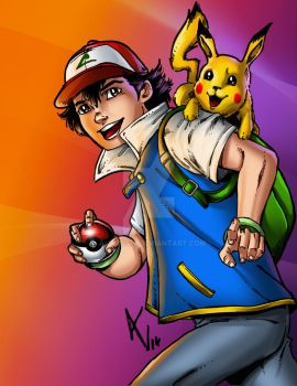 Ash and Pikachu by avarts74