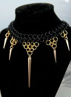 Chainmaille choker with spikes by TiAMeChainmaille