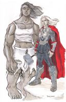 Femme Hulk and Femme Thor Commission by TessFowler