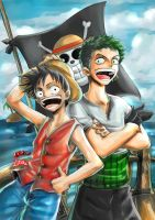 ONE PIECE_Luffy and Zoro by Raftand