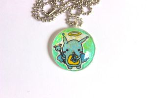 Sugar Glitter Hand Drawn Angel Glass Pendant by PinkChocolate14