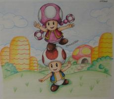 Toad and Toadette by Freddy-Kun-11