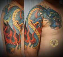 Asia dragon tattoo by 2Face-Tattoo