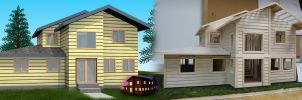 House design - 3D render with 1/2 inch scale model by Skullvonavich