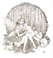 The fairy with little wolves by Reoa
