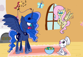 Luna meets her subjects - Fluttershy by iguana14