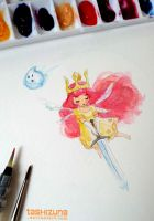 Aurora and Igniculus, made with REAL watercolours by tashizuna