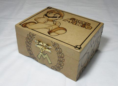 Wood Box: Mario 2 [Pyrography / Woodburning] by dcmorais