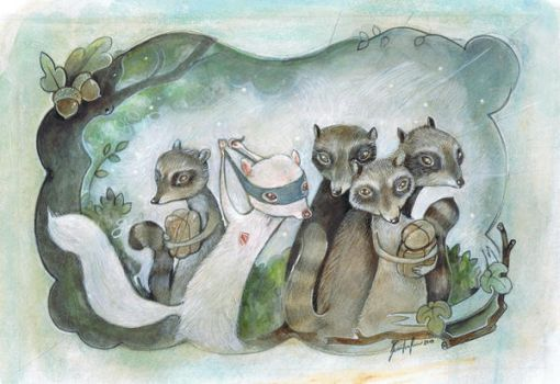 Raccoon Card by miorats