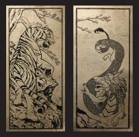 Tiger and Dragon Print-Gold Foil by CrimsonWolf2016
