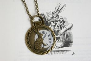 Mr White Rabbit Necklace by MonsterBrandCrafts