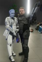 Liara and her Shepard by LittleMissMetamorph