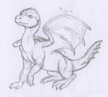 Baby Blue Dragon -pencil- by BlueWingedCoyote