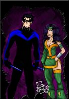 C- Nightwing and Cheshire by roemesquita