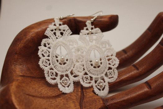 Lace Pearl Earrings by emmysheartsncrafts