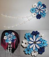 Blue and White Kanzashi by Bunnygirl2190