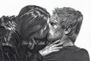 Katniss and Peeta by scoobylady