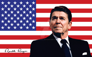Ronald Reagan And U.S. Flag by YehudisL