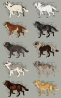 Semi-Realistic Wolf Adoptables Set 6 - CLOSED by Therbis