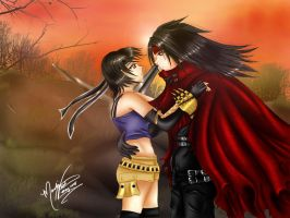 Yuffie and Vincent Commish by SassyLilPanda