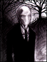 Slenderman charcoal portrait by Cageyshick05