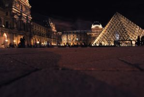 Louvre Pyramid at night by sunflower983